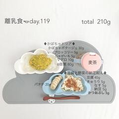 赤ちゃん/離乳食/生後9ヶ月/グルメ/フード 今日の離乳食。 かぼちゃのポタージュたく…