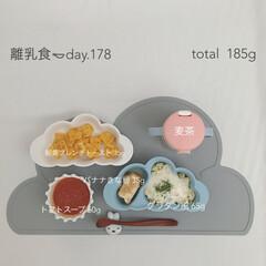 手作りごはん/生後11ヶ月/離乳食後期/離乳食/おうちごはん/グルメ/... 今日の離乳食。 洋風メニューです🥄 トマ…