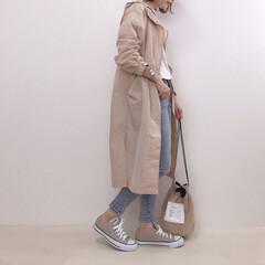大人カジュアル/スキニーパンツ/アウター/コート/ドローストリング/ファッション トレンドのドローストリングコート。 また…