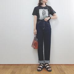 しまむら/ロックT/神デニム/GU/ファッション/令和元年フォト投稿キャンペーン 上下GUでカジュアルコーデ。 Tシャツに…