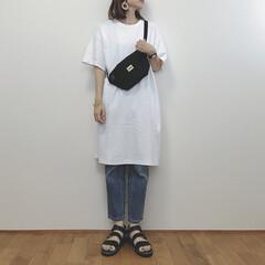 カジュアルコーデ/Tシャツワンピ/ユニクロユー/ファッション/わたしのお気に入り シンプルカジュアルコーデ。 ユニクロユー…