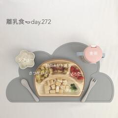 離乳食完了期/離乳食/LIMIAごはんクラブ/おうちごはんクラブ/わたしのごはん 今日の離乳食。 納豆入りのお好み焼きは食…