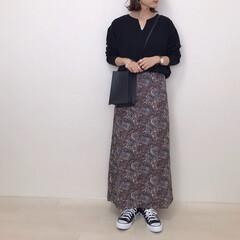 キーネック/ロングスカート/大人かわいい/ペイズリー柄/神戸レタス/kobelettuce/... 神戸レタスのペイズリー柄スカートさっそく…