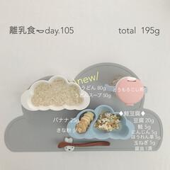 離乳食/赤ちゃん/生後9ヶ月/おうちごはん/フード 今日の離乳食。 うどん始めました❁︎ 少…