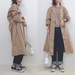 アウター/コート/しまむら購入品/しまむら/ファッション しまむらのCツイルノーカラーコート🧥 こ…