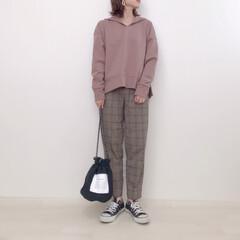 大人カジュアル/チェックパンツ/パーカー/GU購入品/GU/ファッション GU購入品で早速コーデ♡ ブラウンのパー…