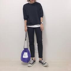 巾着バッグ/UNIQLO/GU/カジュアルコーデ/モノトーンコーデ/ファッション おにゅーのパープル巾着♡ モノトーンコー…