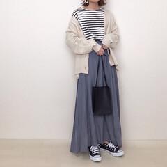 ボーダー/くすみブルー/くすみカラー/大人かわいい/春コーデ/ファッション くすみブルーが可愛いスカートで春コーデ🌸…
