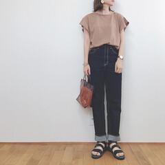 大人カジュアル/GU/ファッション/雨季ウキフォト投稿キャンペーン 上下GUコーデ✧  フレアスリーブをデニ…