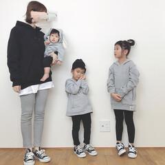 スウェット/お揃い/パーカー/親子リンクコーデ/リンクコーデ/ファッション スウェットで親子リンクコーデ。 私と子供…
