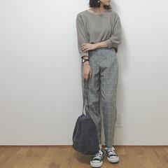 秋コーデ/ワッフルクルーネックT/ユニクロ/ファッション/秋 いつかのコーデ。 ユニクロのワッフルクル…