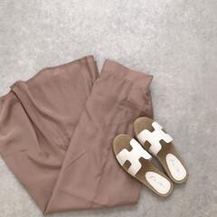 プチプラ/ファッション/フラットサンダル/サンダル/くすみピンク/マーメイドスカート/... スカートもサンダルも神戸レタスのもの。 …