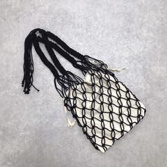 トートバッグ/プチプラ/ファッション/zozo購入品/ネットバッグ/バッグ おにゅーのネットバッグ👜 ホワイト、ベー…