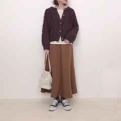 ニットカーディガン/フレアスカート/上下GU/GU/ファッション 上下GUコーデ* 値下げで590円になっ…