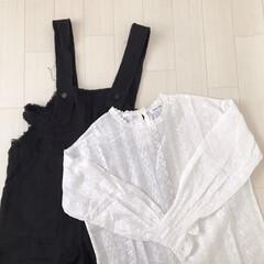 春服/プチプラ/モノトーン/刺繍ブラウス/サロペット/韓国ファッション/... arco irisのお洋服♡ サロペット…