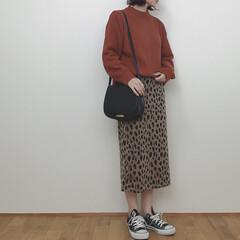 レオパード/ニット/GU/秋/ファッション いつかのコーデ。 オレンジのニットが良い…