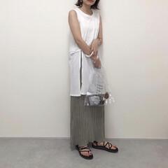 Teva/ボヤインフィニティ/大人カジュアル/神戸レタス/ノースリーブ/カーキ/... お気に入りの神戸レタスのプリーツスカート…