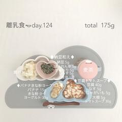 赤ちゃん/生後9ヶ月/離乳食/グルメ/フード 2日前の離乳食。 角切り食パンだいぶ上手…