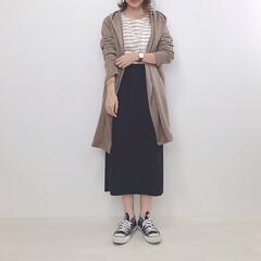 大人カジュアル/タイトスカート/コーディガン/ファッション ブラウンのコーディガンget♡ 柔らかく…