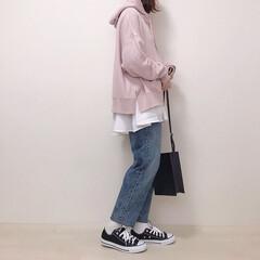 春コーデ/神戸レタス/付け裾/スウェットコーデ/パーカー/ファッション パウダーピンクのパーカー着回し* フレア…