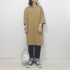 デニム/GU/ワンピース/からし色/ファッション からし色のワンピ♡ 最近今まではあまり着…