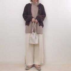 大人カジュアル/ブラウンコーデ/カフェオレコーデ/GU/ファッション ブラウン×アイボリーでカフェオレコーデ☕…