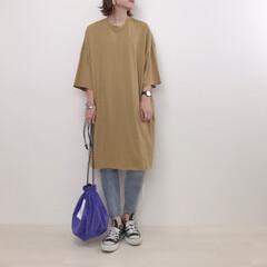 スキニー/Tシャツワンピース/からし色/運動会コーデ/ファッション 運動会コーデ。 運動会は動きやすくちょい…(1枚目)