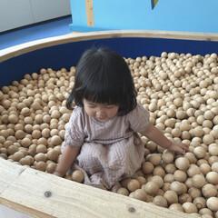 1歳6ヶ月/おでかけ/木のおもちゃ/ボールプール 木のボールプール。 木のいい匂いがしまし…