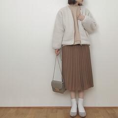 冬コーデ/アウター/ボアブルゾン/GU/ファッション いつかのコーデ。 キャメル、ベージュ、オ…