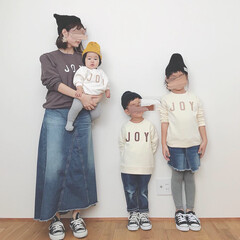 親子リンクコーデ/リンクコーデ/スウェット/秋/ファッション JOYスウェット着てみました✧︎*。 め…