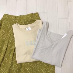 ドット/ロングスカート/タンクトップ/Tシャツ/イエロー/GU購入品/... 最近のGU購入品* ずっと欲しかったドッ…