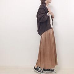 大人カジュアル/秋コーデ/プリーツスカート/プチプラのあや/しまむら/ファッション ブラウン×キャメルで秋コーデ🍂 しまむら…