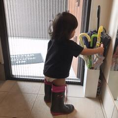 長靴/娘/1歳7ヶ月/面白写真 最近玄関で靴を履いて遊ぶのが好きな末っ子…