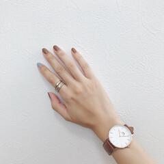 セルフネイル/アクセサリー/手元コーデ/リング/腕時計/ネイル/... 今日の手元⌚️ お気に入りの時計とリング…