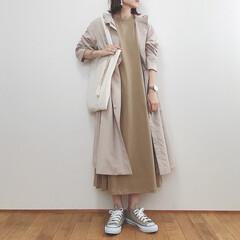 春コーデ/ワンピース/大人カジュアル/GU/ファッション GUのコートにGUのワンピース◡̈ ほん…