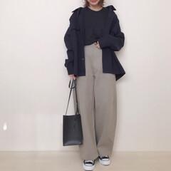 大人カジュアル/ジャケットコーデ/GU/カーブパンツ/ユニクロ/ファッション お久しぶりのカーブパンツ👖 やっぱり穿き…