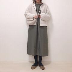 ボアブルゾン/カーキ/2way/ワンピース/神戸レタス/ファッション 神戸レタスの2wayワンピ着画* 今回は…