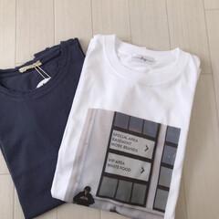 くすみブルー/フォトプリント/Tシャツ/ファッション おにゅーのTシャツ2枚♡ くすみブルーの…(1枚目)