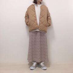 GU/花柄スカート/アウターコーデ/キャメル/キルティングコート/アウター/... l_clothesのキルティングコートの…