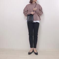 スウェットコーデ/ブラウン/モックネックスウェット/GU/ファッション GUのモックネックスウェット* ブラウン…