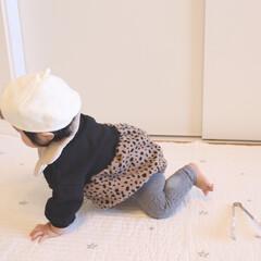 レオパード/ベビー服/ベビーコーデ/生後9ヶ月/赤ちゃん/秋/... new inのレオパードロンパース🐆 ベ…