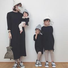 カジュアルコーデ/親子リンクコーデ/リンクコーデ/ファッション 親子リンクコーデ♩ ベージュ×ブラックで…