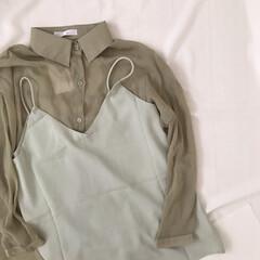 ミントグリーン/サテンキャミ/シアーシャツ/プチプラ/フィフス/fifth トレンドのシアーシャツとサテンキャミ* …