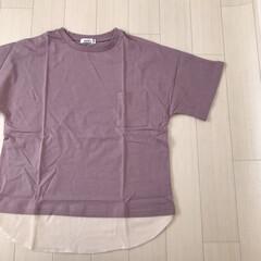 レイヤード風/Tシャツ/くすみパープル/子供服/ファッション むすめふく。 くすみパープルのトップス♡…