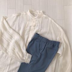 くすみブルー/透け感ブラウス/バンドカラーシャツ/購入品/Pierrot/ファッション pierrotのお洋服* プチプラなのに…