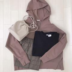 巾着バッグ/チェックパンツ/パーカー/GU購入品/GU/ファッション GUのオンラインでポチってた物が届きまし…