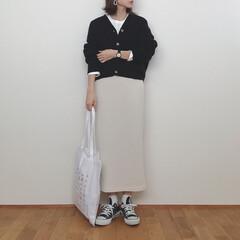 モノトーンコーデ/タイトスカート/大人カジュアル/GU/ファッション モノトーンコーデ●◯ このスカート本当に…