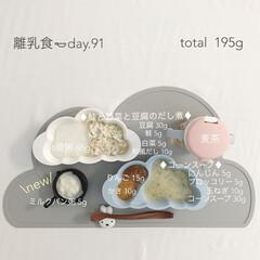 8ヶ月/赤ちゃん/離乳食/グルメ/フード/おうちごはん 今日の離乳食。 パン粥に初挑戦🍞 アレル…