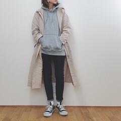 カジュアルコーデ/デニム/パーカー/ジーユー/GU/ファッション GUのドローストリングフーデットコート。…