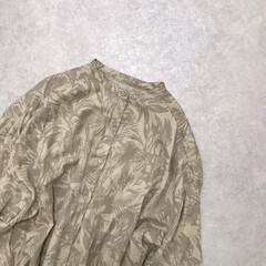 ワンピース/ボタニカル柄/バンドカラー/シャツワンピ/ファッション ボタニカル柄が可愛いシャツワンピ* ゆっ…